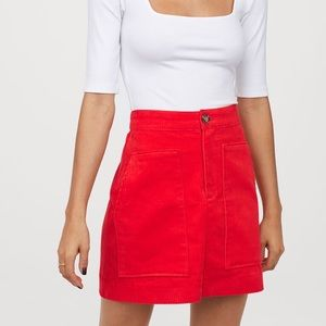Red Corduroy Skirt NEW WITH TAG